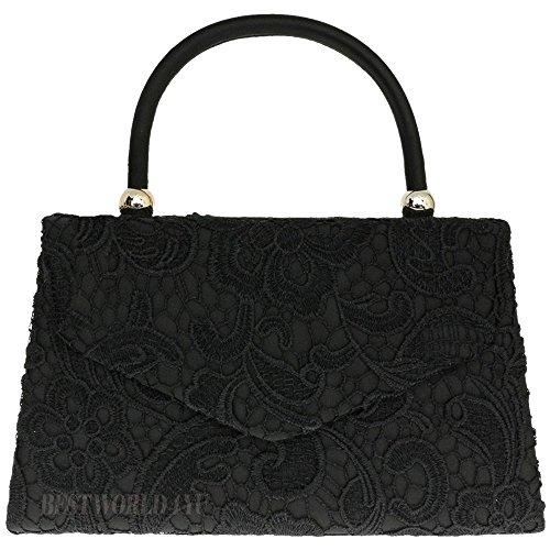 Prom Floral Fashion Clutch 1 TM Vintage Bag Lace Wedding Party Black Bridal Women's UK Wocharm Handbag Bag Evening Satin HwtP7qq