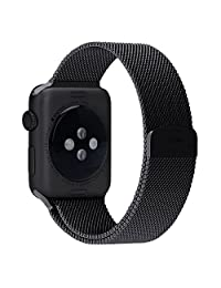Modern Milanese iWatch Band Bracelet Strap Loop with Fully Magnetic Closure Clasp Mesh Stainless Steel for Apple Watch Sport Edition 42mm M/L-Black