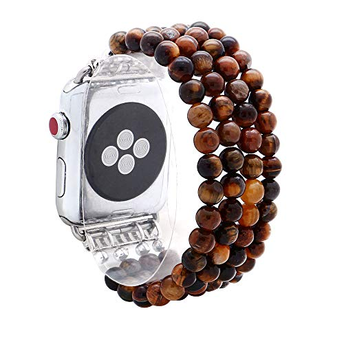 Turquoise Beaded Watch - KAI Top Compatible Apple Watch Band Series 3/2/1 38mm 42mm, Unique Handmade Beaded Elastic Stretch Natural Tiger Eye Stone Fashion Bracelet Strap Women Girls (Tiger Eye, 38mm)