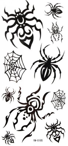 Spider Web Makeup (SPESTYLE waterproof non-toxic temporary tattoo stickersWaterproof black temporary tattoos spider web spider)