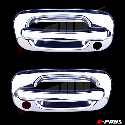A-PADS 2 Chrome Door Handle Covers for Chevy TAHOE / SILVERADO /SUBURBAN 2000-2006 & GMC SIERRA 1999-2006 / YUKON 00-06 - WITH Passenger (05 Chrome Trim Door Handles)