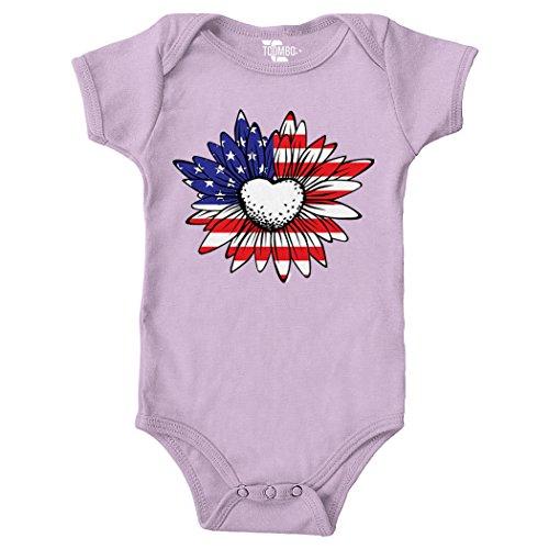 Tcombo Daisy/Sunflower USA Flag Bodysuit (Light Purple, 18 Months)
