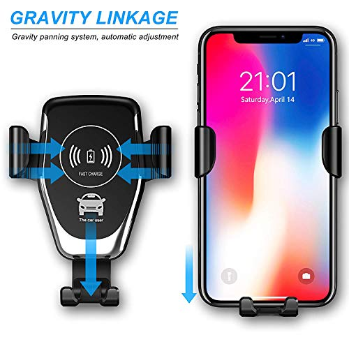 a4aca4b015b8 Wireless Car Charger, Air Vent Dashboard Mount, Mobile Hands Free Holder,  7.5W for Apple iPhone Xs Max Xr X 8, 10W for Google Pixel 3 XL, Samsung ...