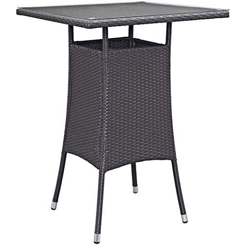 r Rattan Outdoor Patio Small Square Bar Table in Espresso ()