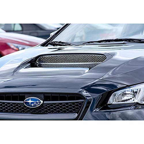 Elite Auto Chrome Acc Black Scoop Grille fit for 15 Subaru WRX STI-Laser Mesh Stainless/Powder Coated ()