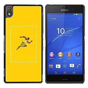 YOYOYO Smartphone Protección Defender Duro Negro Funda Imagen Diseño Carcasa Tapa Case Skin Cover Para Sony Xperia Z3 D6603 D6633 D6643 D6653 D6616 - el hombre negro musculoso se esprintar