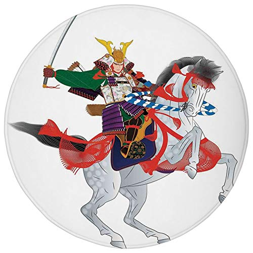 (Round Rug Mat Carpet,Japanese,An Asian Soldier with Local War Clothes Armour Riding a Prancing Horse Illustration,Red Green,Flannel Microfiber Non-slip Soft Absorbent,for Kitchen Floor Bathroom)
