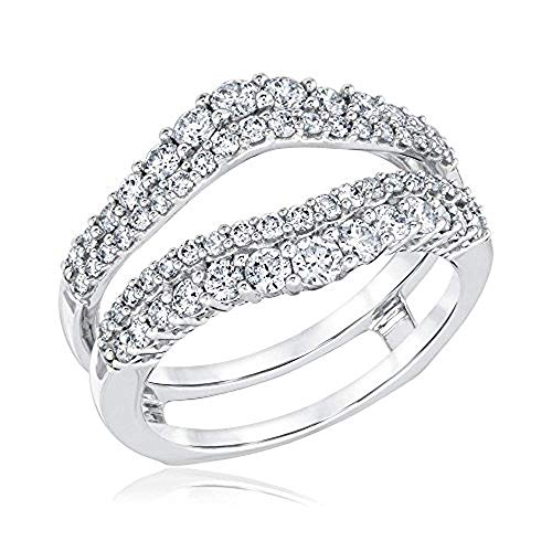 Double Solitaire Enhancer Round 1.00ct Simulated CZ Diamonds Ring Guard Wrap Jacket 925 Sterling Silver