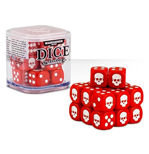 Red, White, Blue, Green, Black or Grey Warhammer 40,000 40K /& Age of Sigmar Dice 12mm - Color Varies