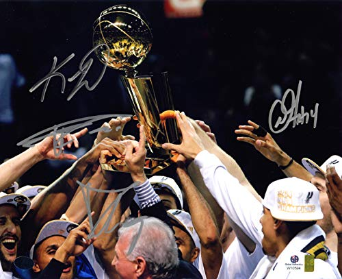 Kawhi Leonard, Tim Duncan, Tony Parker and Danny Green San Antonio Spurs Signed Autographed 8