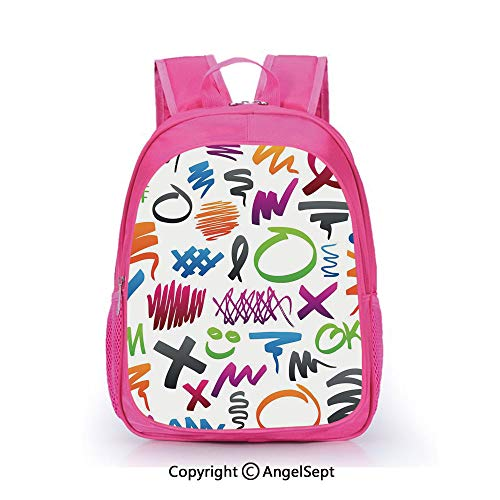Hot Sale Backpack Casual Daypack,Pencil Drawings with Vibrant Colors Lines Marker Strokes Circles and Other Shapes Decorative Multicolor,15.7inch,Travel Outdoor Backpack For Boys And Girls