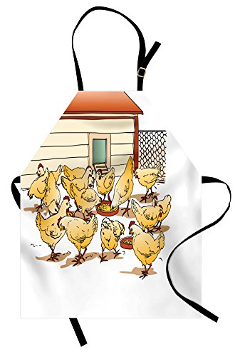 Lunarable Chicken Apron, Flock of Hens in a Farm Eating from Food Bowls Colorful Cartoon Style Illustration, Unisex Kitchen Bib Apron with Adjustable Neck for Cooking Baking Gardening, Multicolor ()