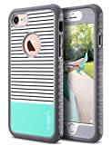 ULAK iPhone 8 & 7 Case, Shock-Absorbing Flexible Durability TPU Bumper Case, Durable Anti-Slip, Front and Back Hard PC Defensive Protection Cover for Apple iPhone 7 4.7 inch,Mint Stripes Minimal