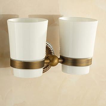 Anticuario de cobre cepillo de dientes taza de enjuague taza de baño Europea doble taza de titular de cerámica boca titular titular baño: Amazon.es: Hogar