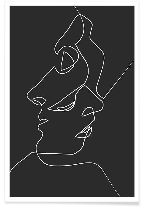 """623929e34f3 JUNIQE® Posters 20x30cm Black   White Couples - Design """"Close Noir"""" (Format"""