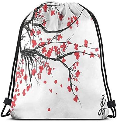 Drawstring Tote Bag Gym Bags Storage Backpack, Sakura ...
