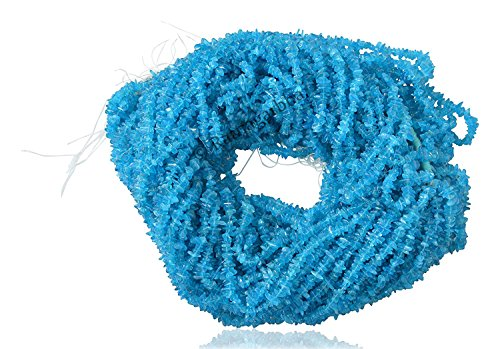 (Ratnagarbha Natural Neon Blue Apatite Gemstone Tumbled Nuggets Uncut Chips Loose Beads, 34