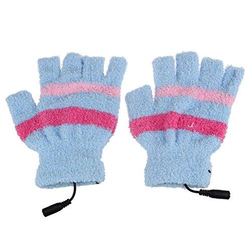 Yliquor USBウール 冬用暖かい手袋 ソフトストライプ 指なし加熱手袋 レディース メンズ ガールズ ボーイズ B07H7ZDLTF ブルー ブルー