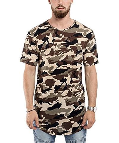 Phoenix Oversize Round T-Shirt Camo Woodland Men's Camouflage Longshirt - XL - Woodland Camouflage Tee T-shirt Top