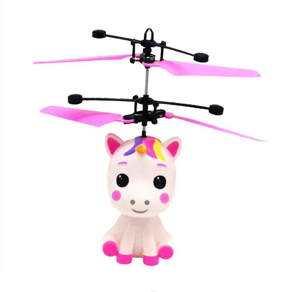 UPLEYING Hanging Helicopter Mini Drone Unicorn Flying RC Toy Hand Controlled Gravity Sensing Aircraft Kids Boys Girls Birthday Gift (Red) by UPLEYING