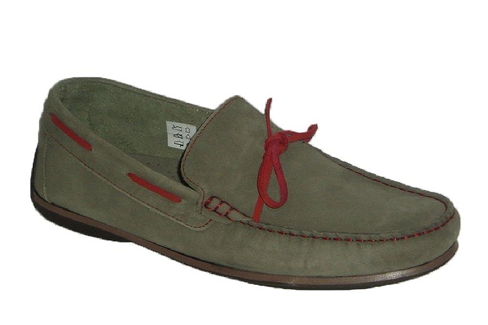 VITELO K101, Zapato Mocasín Hombre Cinza pasados y Lazo Rojo 43 EU