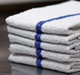 Globe House Products GHP 12-Pcs Blue Stripe 16''x19'' 100% Cotton Terry Cloth Industrial Bar Mop Towels