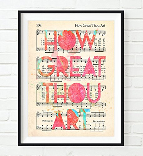 How Great Thou Art - Christian ART PRINT, UNFRAMED,Vintage Hymnal Book of Worship page Hymn,sheet music, watercolor lyrics, wall decor poster gift, 8x10 inches