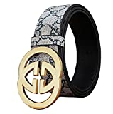DUKAGE GG Plus Monogram Leather Belt for Mens and Womens(110-130cm)...