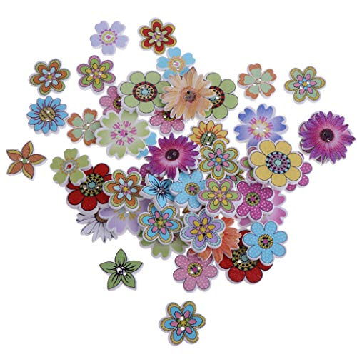 50pcs Mixed Wooden Buttons Decorative Flower Button 2 Hole for DIY Craft 19-25mm (Style - 3#)