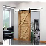 Unionline 8 Ft American Style Sliding Wood Barn Door Hardware Sliding Track Kit Steel Straight Style Black