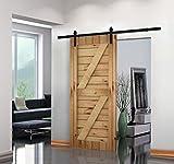 barn wood sliding door - Unionline 8 Ft American Style Sliding Wood Barn Door Hardware Sliding Track Kit Steel Straight Style Black