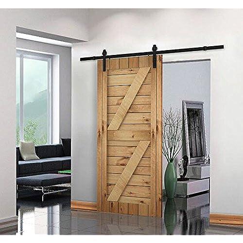 Unionline 8 Ft American Style Sliding Wood Barn Door Hardware Sliding Track  Kit Steel Straight Style Black