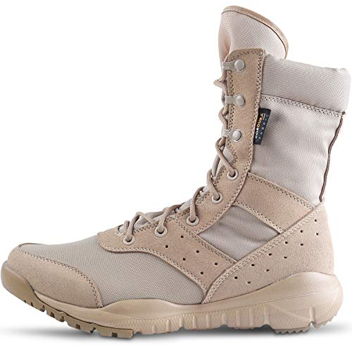 WWOODTOMLINSON Men's LD Tan Desert Boots,Lightweight Lace up Combat Boots Military Tactical Outdoor Men Boots 8 D(M) US - Military Combat Boots Desert