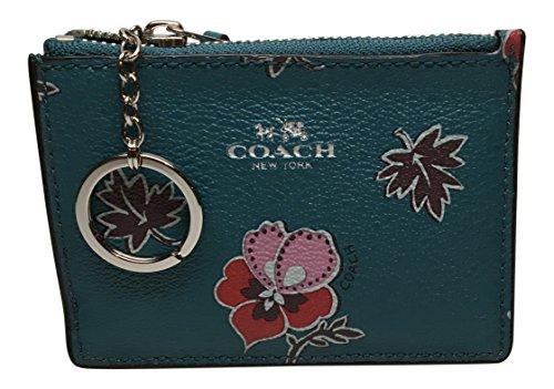 Coach PVC Wildflower Print Mini Skinny ID Wallet F12555 Dark Teal Multi