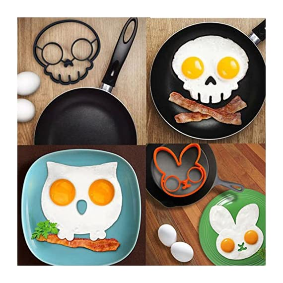 Allshope 2018 New Funny Silicone Pancake Mould Ring Fried Egg Cooking Kitchen Tool 3 Fuction: eggs and pancakes cooking tools Pattern: Purple owl,orange bunny, yellow smile face, black skull, cat, frog Material:silicone