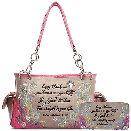 Embroidery Floral Bible Verse Scripture Purse Western Style Handbag Women Shoulder Bag Wallet Set Fuchsia (Heart Winged Handbag)