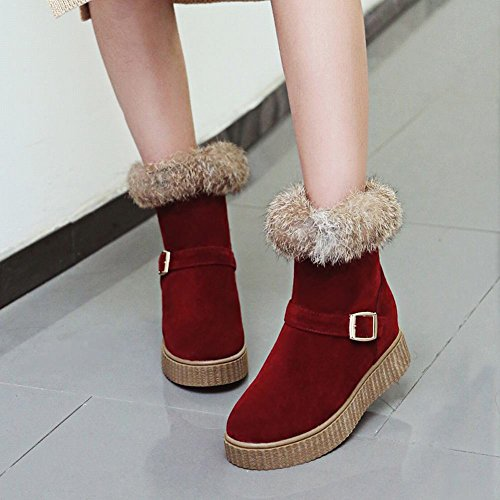 Spectacle Briller Femmes Chic Boucles Chaudes Plate-forme Hiver Bottes Dhiver Rouge
