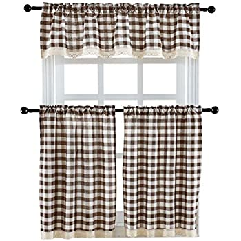 Curtains, Drapes & Valances 3 Pieces Kitchen Curtain Tier And Valance Set Checkered Cotton Blend Coffee