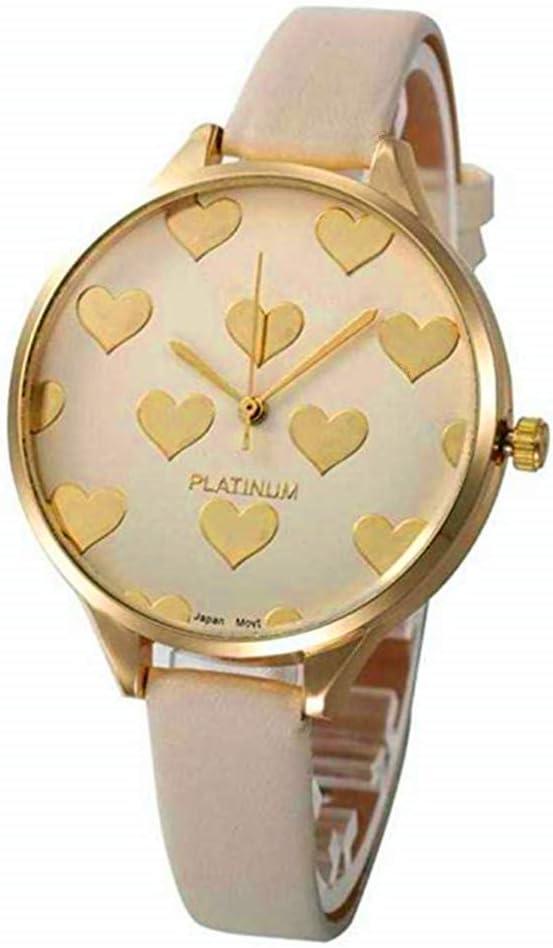 WSSVAN Reloj analógico de Cuarzo para Mujer Cuero sintético Geneva Acero Inoxidable Dial Dorado corazón