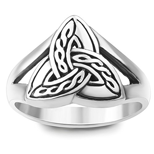 925 Silver Celtic Weave Ring - 925 Sterling Silver Triquetra Trinity Knot Celtic Weave Band Ring Jewelry Size 6