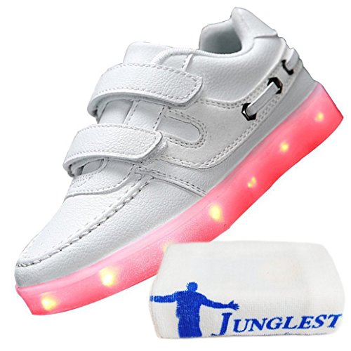 (Present:kleines Handtuch)JUNGLEST® 7 Farben Kind Jungen Mädchen USB Lade LED leuchten Sportschuhe Lu Weiß