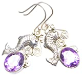 "Natural Amethyst Handmade Unique 925 Sterling Silver Earrings 1.75"" X4218"