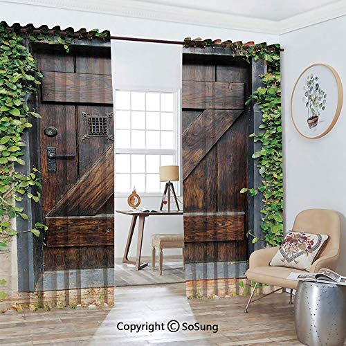 - Thermal Insulated Blackout Patio Door Drapery,Small Spanish Style Dark Stained Wood Door Secret Garden with Grated Window Art Picture Room Divider Curtains,2 Panel Set,100