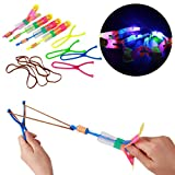 Bigbuyu 24 Pack Amazing Arrow Rocket Copters 2 Led Colorful Light Amazing Helicopter Flying Toy Slingshot Arrows Flying Toy Party Favor for Kids Random Color