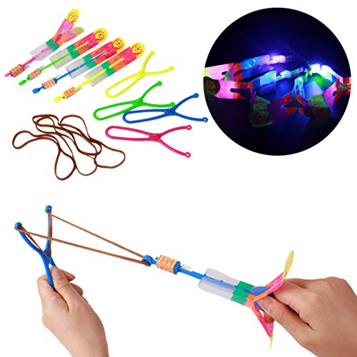 Bigbuyu 24 Pack Amazing Arrow Rocket Copters 2 Led Colorful Light Amazing Helicopter Flying Toy Slingshot Arrows Flying Toy Party Favor for Kids Random Color by Bigbuyu