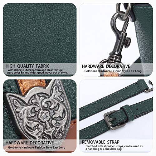mano de Bolsos Bolsos DEERWORD Carteras Shoppers asa para hombro bandolera mujer de con Verde y bolsos 7pCnxSCHwq