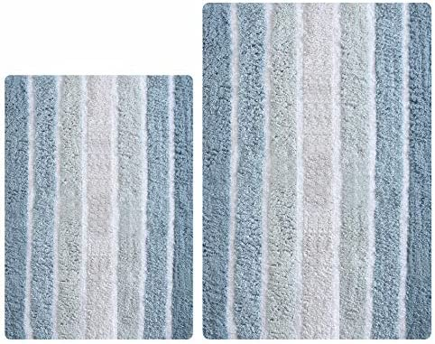Taupe Spa Reversible Cotton Bath Mat Casual Striped Water Absorbent Bathroom Rugs 24X72 inches