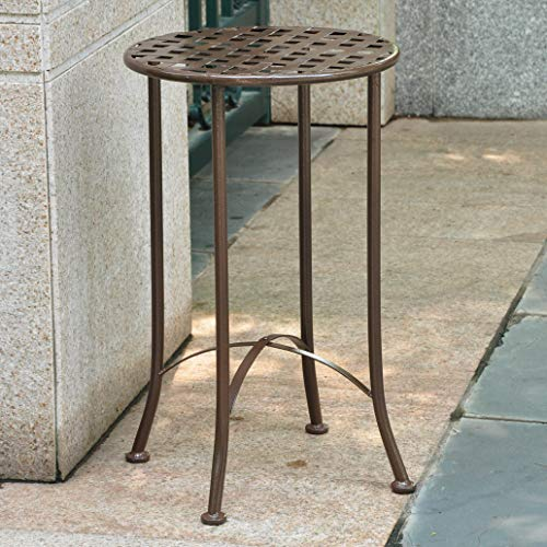 "International Caravan Mandalay 16"" Wrought Iron Table in Bronze"