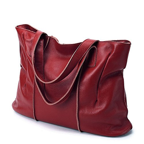 Malluo Leather Capacity Bags Tote Shoulder Bags Wine Fashion Handbags Handbags Hobo Women Red Soft Large qBwqagU