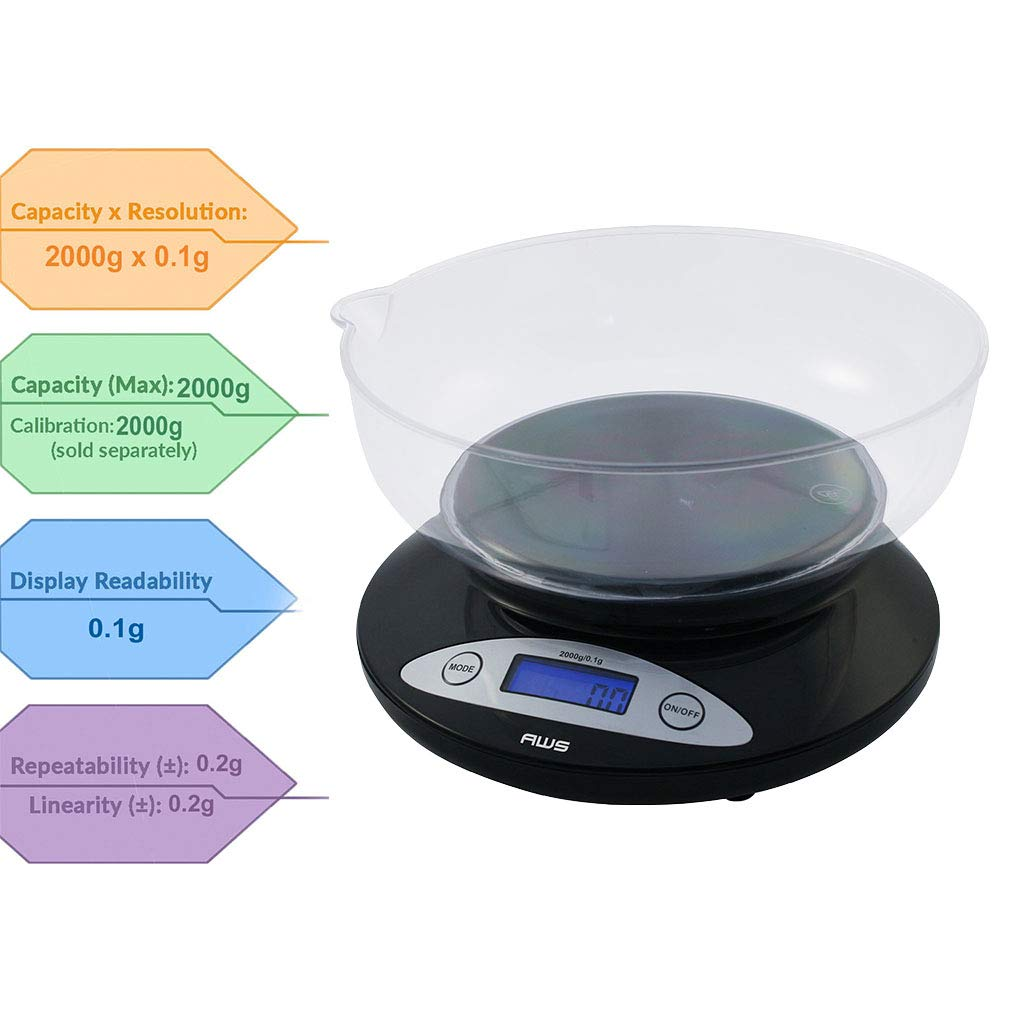 American Weigh Scales Precision Digital Kitchen Food Weight Scale With Removable Bowl Black 2000g X 0 1g 2k Bowl Bk Kitchen Dining